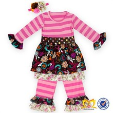 Soft material cotton children clothing sets christmas nativity set fall striped pants ruffled outfit