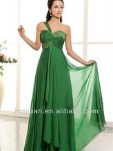 2014 Elegante gasa verde vaina de un hombro cuello en V vestido formal