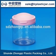 Hot transparent 210 ml rond large bouche pot en plastique alimentaire bonbons cookie pot en plastique avec couvercle