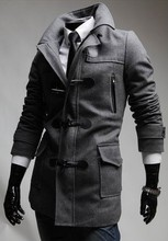 High quality long sleeve Horn Button fashion mens tweed coat with Detachable hat
