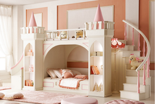 Latest solid wood furniture designs Luxury Castle Princess bunk bed kids bedroom furniture sets cheap with foshan guangzhou
