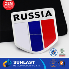 Free mold charge russia sticker for car body 2015 funny metal national flag tag OEM6069