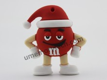 Chocolate bean usb flash have Christmas hat cheap pen drive cute wholesale pendrives