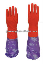 WJ6 Long cuff latex gloves for cleaning/kitchen latex gloves/warm velvet household latex gloves