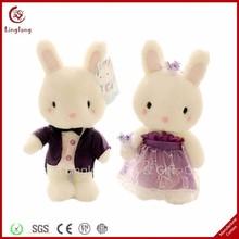 New design plush rabbit with wedding gown Supple stuffed cartoon bunny doll cartoon animal toy