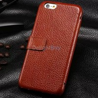 for iPhone 6 4.7'' Case Cover , 100% Handmade Vintage Genuine Cow Leather Folio wallet Case for iPhone 6s (4.7 inch