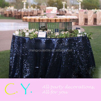 Glitz Sequin Navy Blue Wedding Tablecloth