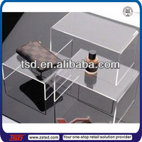 TSD-A886 China factory Custom clear acrylic store fixture/shop fittings display rack/acrylic shoes display stand riser