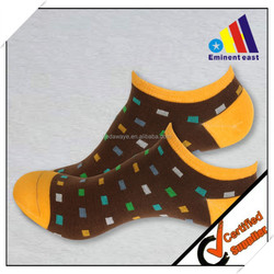 fashion design jacquad dots brown yellow cotton adult men ankle socks