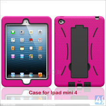PC+Silicon 3 in 1 Shockproof Case for iPad mini 4, Robot Case With Kickstand Shockproof Cover Case For iPad mini 4