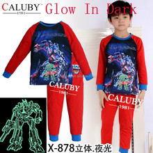 100% cotton boys transformers cartoon pajamas,children sleepwear baby underwear glow in the dark
