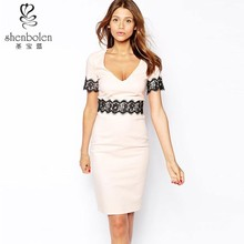 2015 short sleeve scoop v neck bodycon tight Lace dress for office lady wear