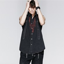 2015 Summer Famous Punk Rave Brand Mens Denim Shirt With Drops of Blood Pattern