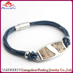 Men's trendy fashion jewelry cool leather bracelet with matel wholesale