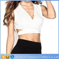 Summer Sexy plain girls White Short Sleeveless shirts Cross V Neck Back habena cutout crop top Vest for women