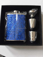 7oz jagermeister stainless steel welding gife sets leather hip flask with two pieces shotglass ,onr funnel