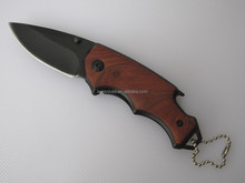 mini size wood handle pocket knife camping with wine opener