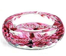 Crystal Table Ashtray with printing flower at bottom