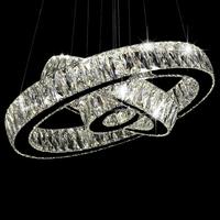 LED Crystal Ring Chandelier Lamp Stainless Steel Cristal Pendant Hanging Light Suspension Lighting Fixture LED007/200+400+600