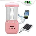 Precio barato CHL lámpara de energía solar con radio fm, usb cargador de teléfono móvil