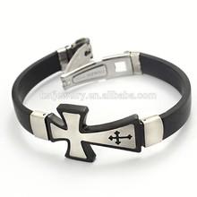 Mens Cross diseño pulsera de silicona pulsera de China