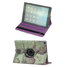 Sleep/Wake smart case for ipad air 2 360 degree rotating Case Global Map Printing