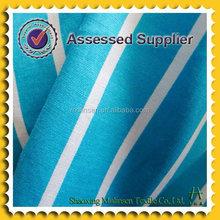 Reactive printed stripe poplin blue and white fabric