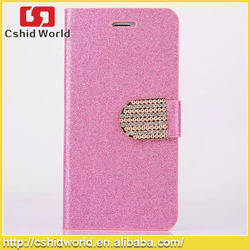 2015 hot sale Luxury Glitter Diamond PU Wallet Leather Case For iphone 5/5s