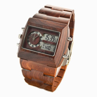 dual time Best price 100% Nature Luxury Sandalwood Watch with Wood Case and Band, Japan quartz and electronic double Movt 2035