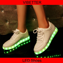 2015 New men's fashion sneakers black running shoes male lighted casual shoes LED glow shoes International brands Free shipping