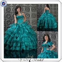 QU094 Beaded Halter Bling Organza Turquoise Wedding Dress