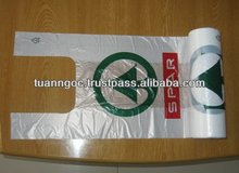 Plastic bags on roll/ Plastic T-shirt shopping bag for supermarket export to Sweden