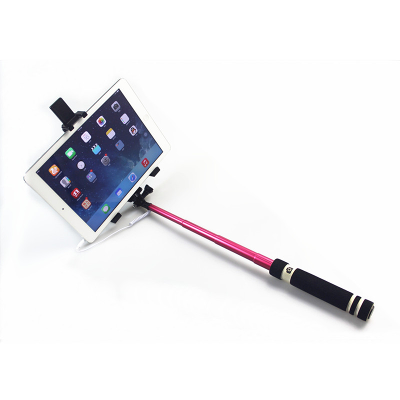 aluminum material and mini tripod lightweight type wired selfie stick for ipad smartphone. Black Bedroom Furniture Sets. Home Design Ideas