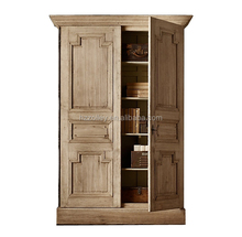 French style nature wood color shabby Chic vintage Chest of Drawers bedroom 2 door children wardrobe cabinet