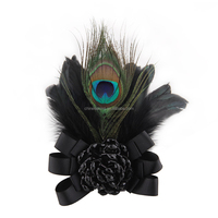 vintage peacock feather hairpin accessory dual handmade fabric rose pin corsage brooch for women