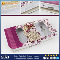 [GGIT] Colorful Case for Samsung for Galaxy Ace 4, Two windows PU+TPU Cover with Diamonds for Samsung