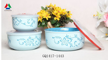 Light blue color ceramic bowl fresh bowl with silicon lid for wholesale