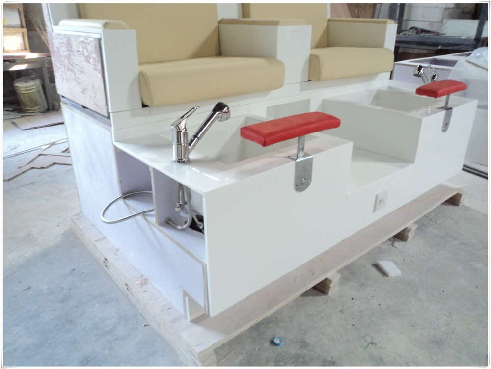 2015 new stone material spa pedicure chair and manicure for Nail salon benches