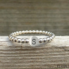 Wholesale jewelry silver dot with letter ring designs for girl