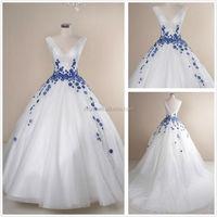 XZ-1322 v neckline real sample wedding dress lace applique made to order royal blue and white wedding dresses