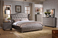 Niko Home Furniture Emily Contemporary Wood Bedroom Set with Bed, Dresser, Mirror, Night Stand, Chest, Queen,White(MB8022)