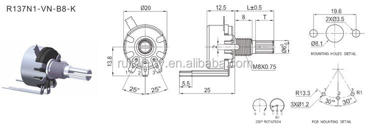 various types 10k claro mexico throttle potentiometer