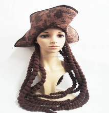 Cheap Pirates Of The Carribean Jack Sparrow Fancy Dress Pirate Hat Braided Wig synthetic wig QPWG-2072