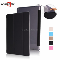 New Arrival PU and soft TPU Tablet Protective Case for ipad pro auto sleep conjoined Case 12.9""