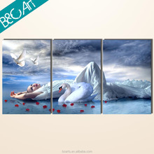 Triptych oil painting white swan and birds print art beautiful lady figure oil painting