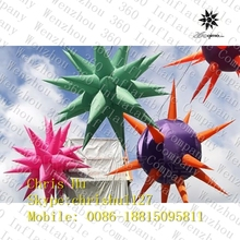 2015 custom outdoor using colorful inflatable hanging lighting decoration spikey balloon stars