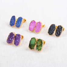 Wholesale Colored Mini Chunky Druzy Stone Jewelry Stud Earrings Jewelry DIY