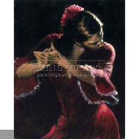 100% Handmade impressionist spanish flamenco woman dancer oil painting for interior decoration