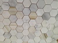 Calacatta gold marble 48mm hexagon shaped kitchen backsplash mosaic tile