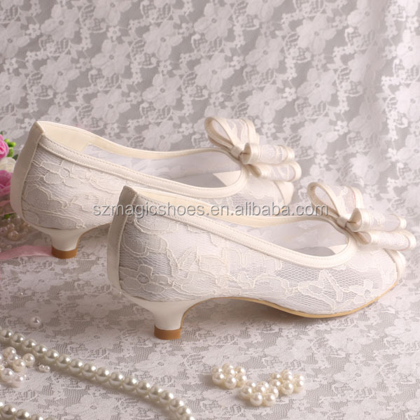 Bridal Low Heel Wedding Shoes Beige Lace View Bridal Low Heel Wedding Shoes Magic Bride